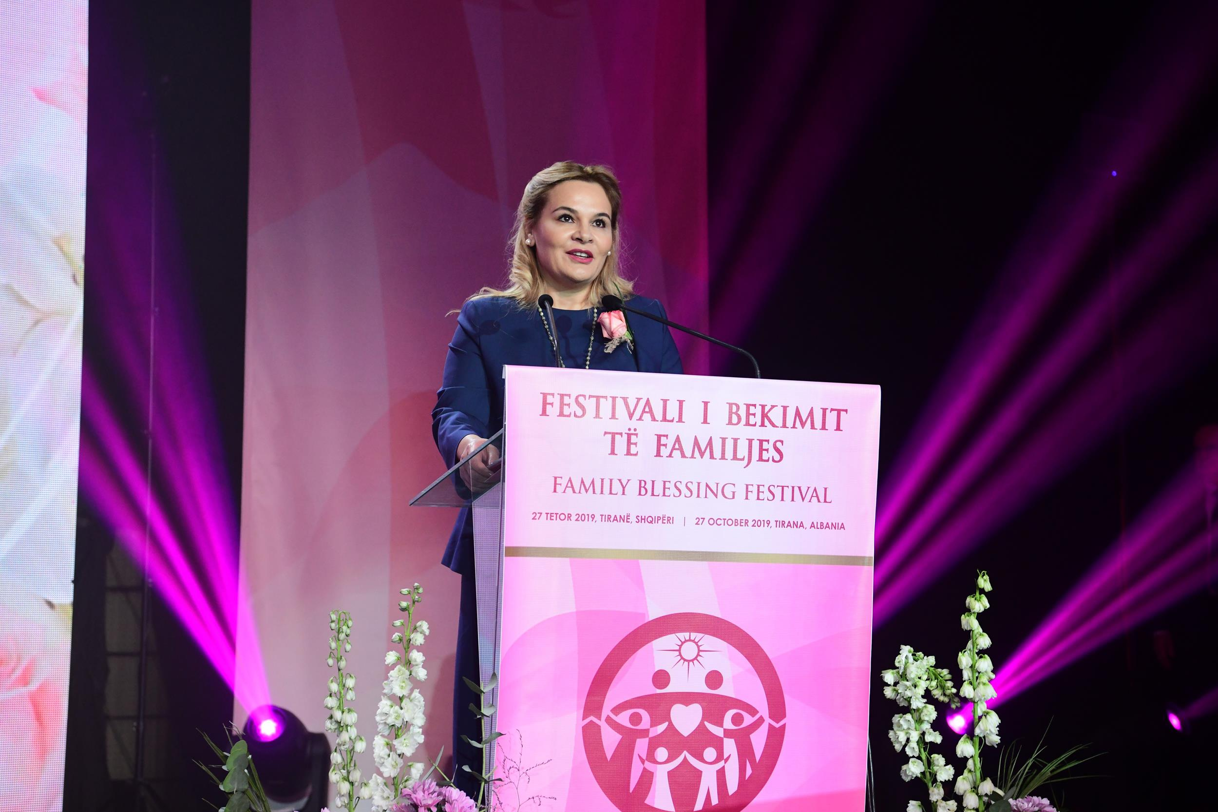 Mrs. Monika Kryemadhi speaks at the Family Blessing Festival
