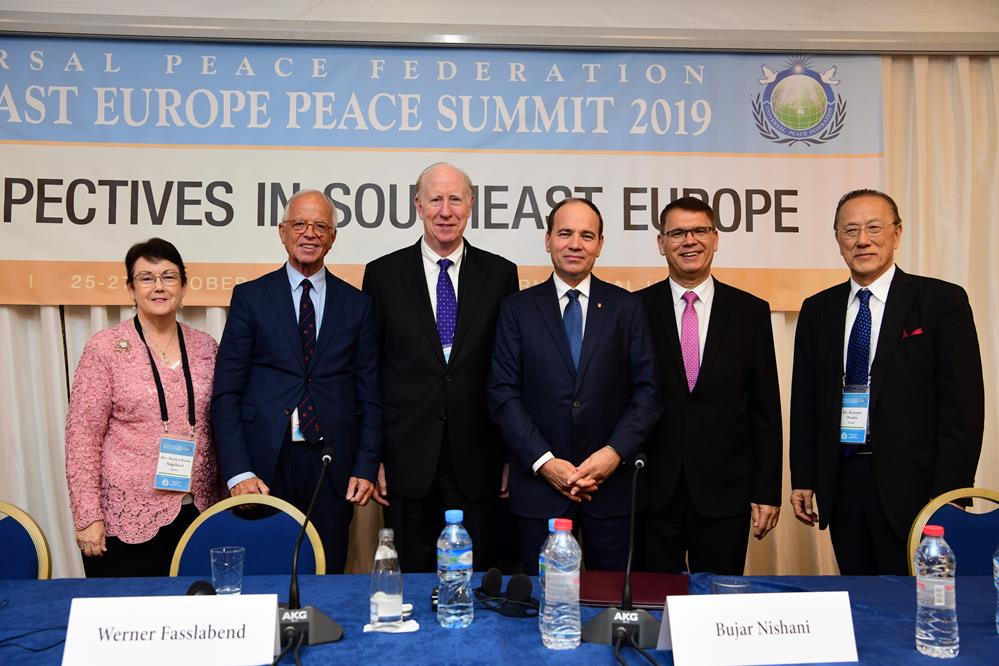 Mrs. Marilyn Angelucci, Dr. Werner Fasslabend, Dr. Thomas Walsh, H.E. President Bujar Nishani, Dr. Michael Balcomb and Dr. Katsumi Otsuka at the Closing Plenary